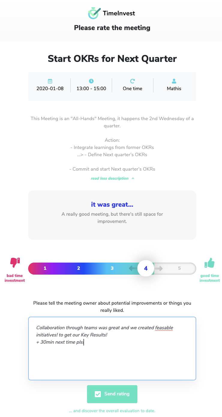 Timeinvest for OKR Meetings